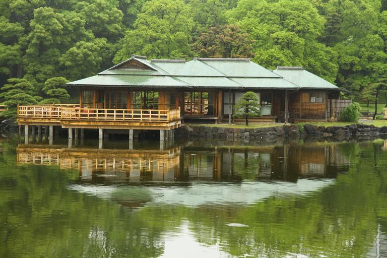 The three-hundred-year-old teahouse in Hamarikyu Gardens