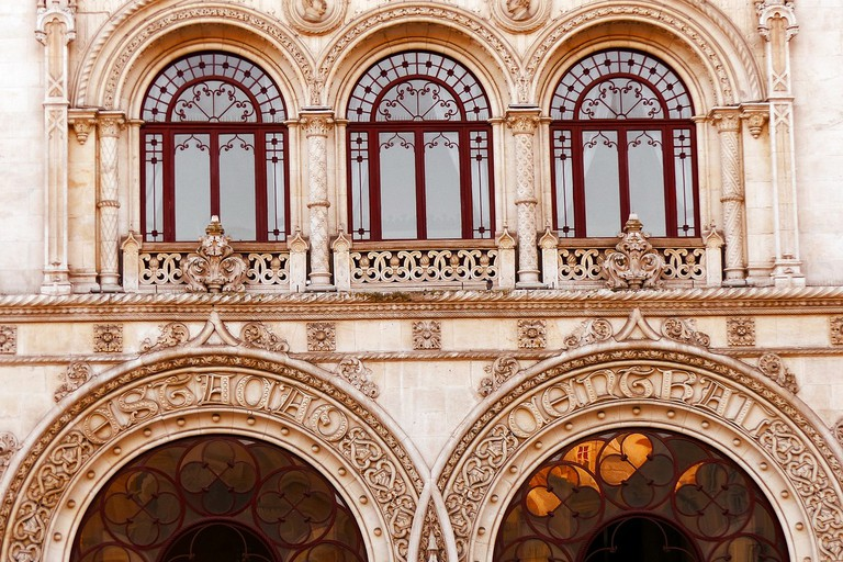 Enjoy a close look at the architecture, including the entrance to Rossio Station