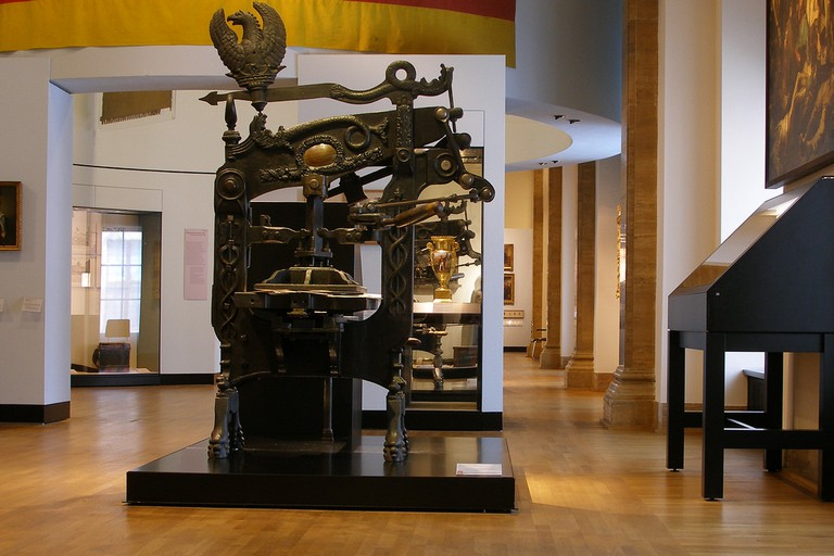 A printing press, similar to those in Palazzo Poli, from 1860