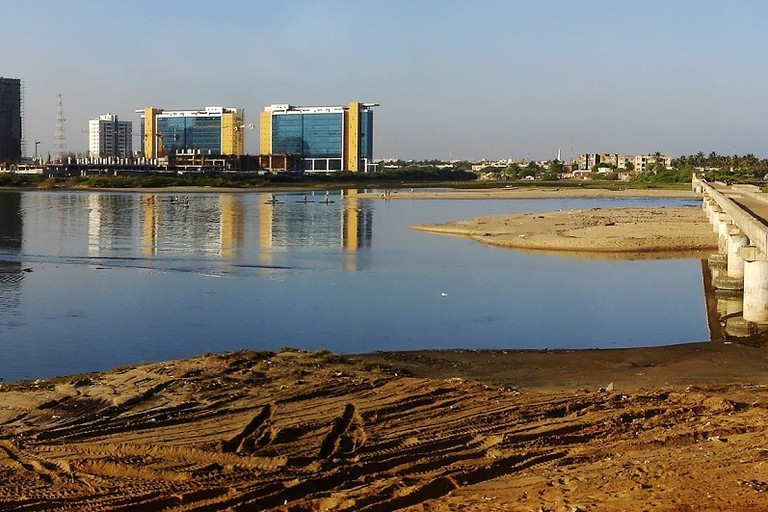 A panorama view of the MRC Nagar as seen from Broken Bridge in Chennai
