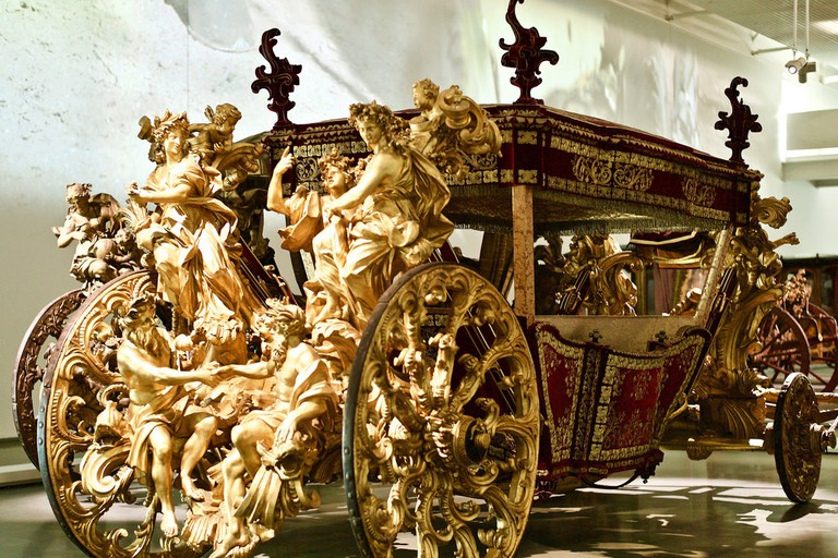 A beautiful 18th century coach inside the museum