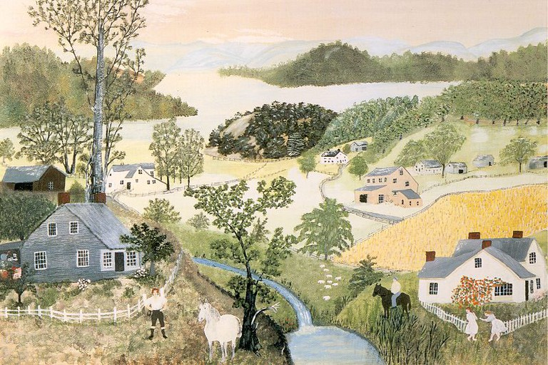 A pastoral landscape byAnna Mary Robertson Moses, a.k.a. Grandma Moses