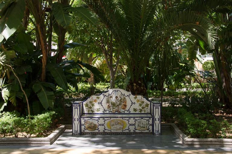 A ceramic bench in Marbella's Alameda Park