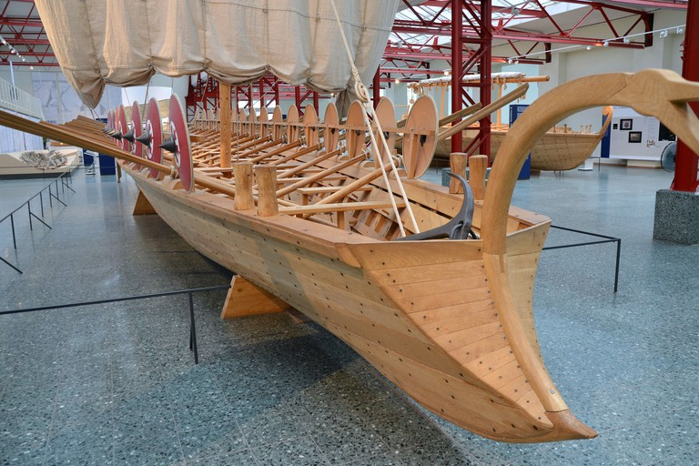 Full scale replica of a Roman military troop transporter ship at the museum