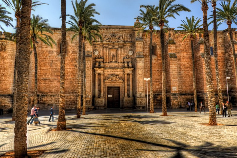 The facade of Almería's 16th century cathedral