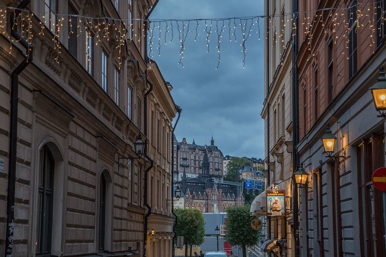 Movitz is down one of Gamla Stan's windy streets