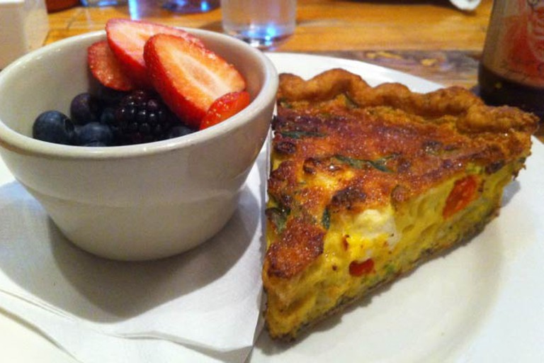Quiche and a fruit bowl from Honeypie Café