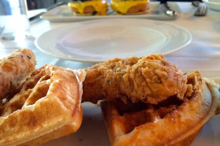 Vegan chicken and waffles at Crossroads LA