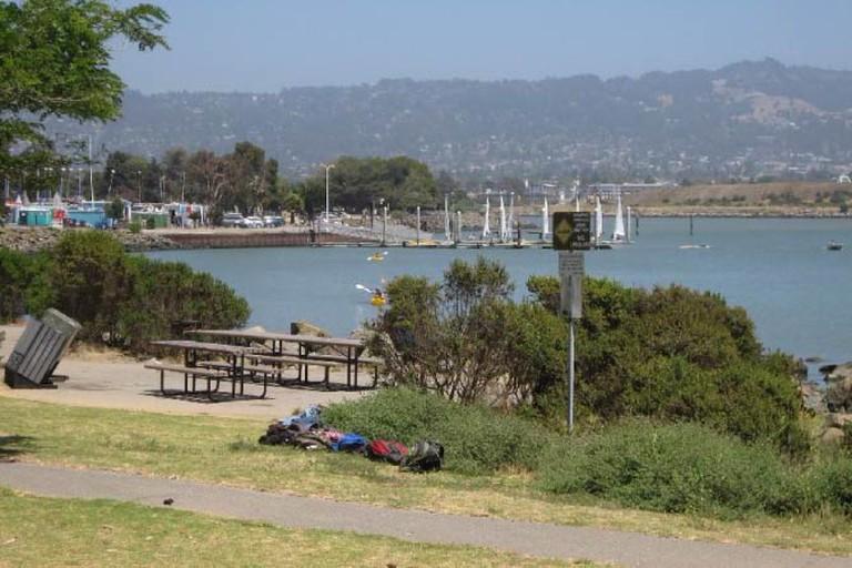 Picnic tables along the Berkeley Marina