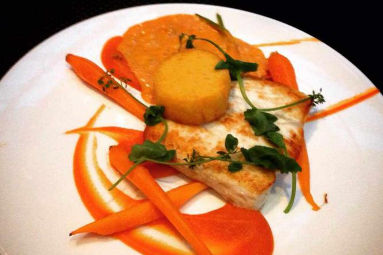 Halibut, polenta, lobster sauce and Dutch carrot