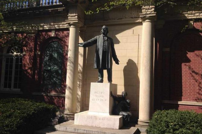 Statue of Henry Ward Beecher Outside of Plymouth Church