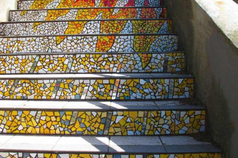 Outdoor art at the 16th Avenue Tiled Steps Project