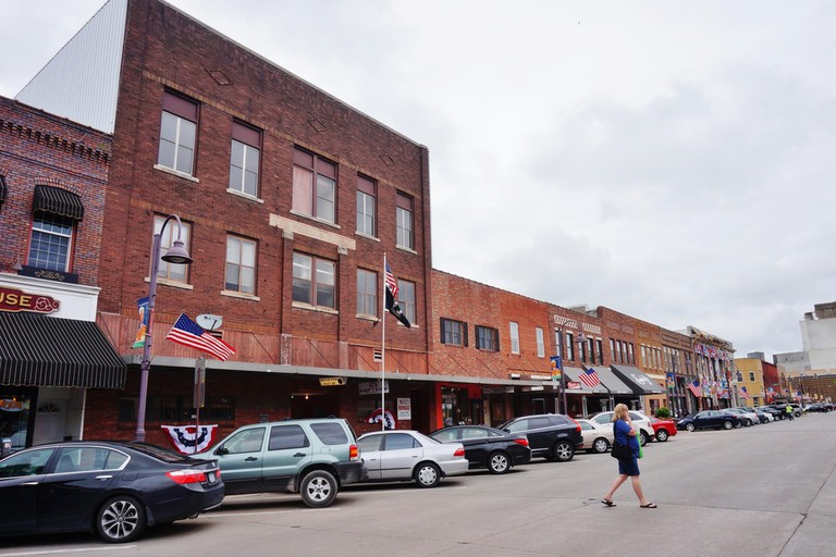 The main street in the historic downtown of Ames, Iowa