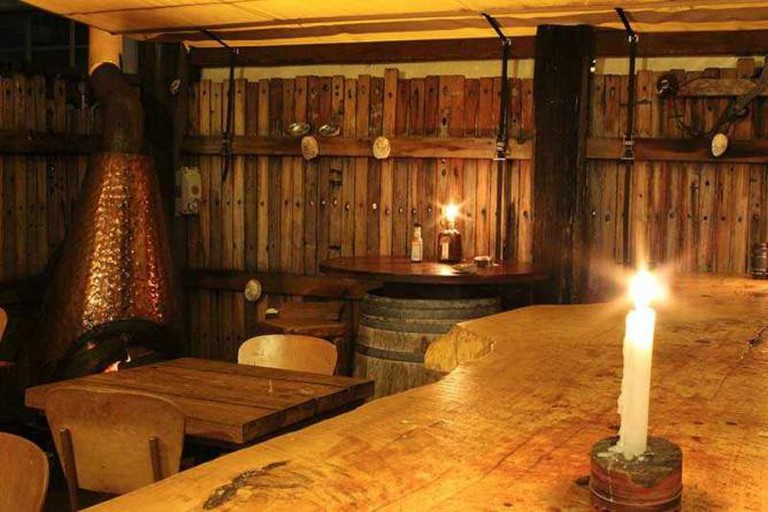 Heaven Woodfire Pizza's rustic wooden interior