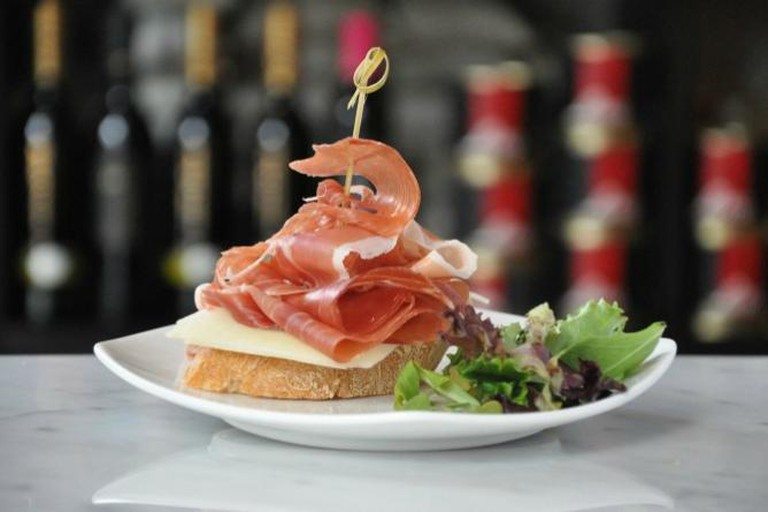 Pintxo of Slices of Serrano Ham and Manchego Cheese