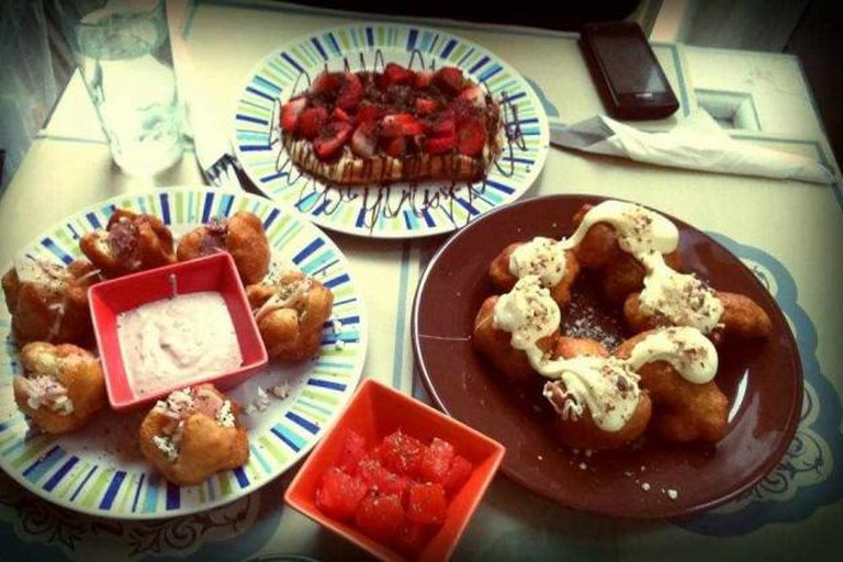 Delicious sweet and salty loukoumades