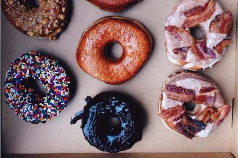Union Square: Brown Butter Hazelnut Crunch, Birthday Cake, Chocolate Cake, Sea-Salted Bourbon Caramel, and Maple Bacon Doughnuts