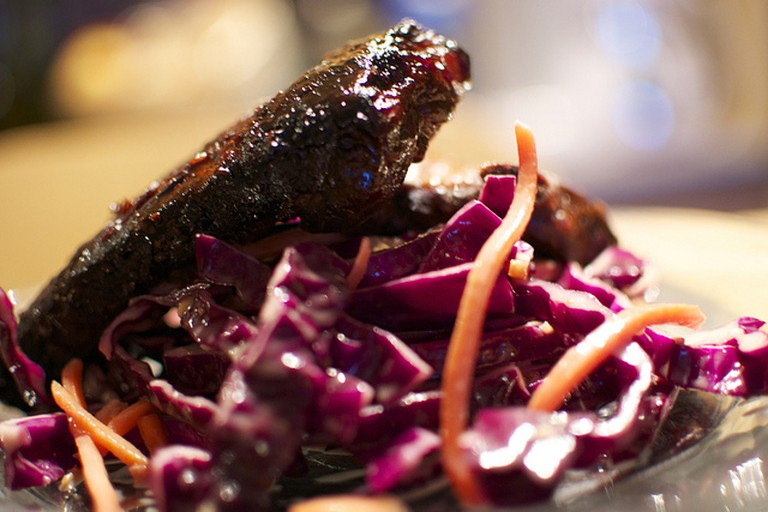 Ribs, Korean BBQ ribs and Asian style slaw