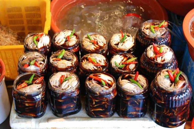Korean preserved crabs sold in Incheon Fish Market