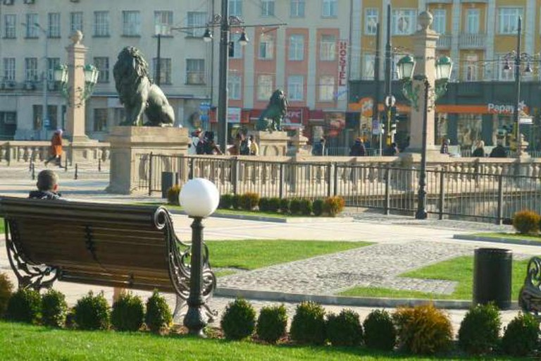 The newly renovated Lion's Square