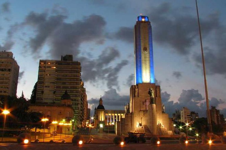 Rosario's National Flag Monument at dusk