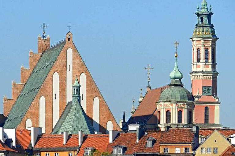 Warsaw's old town's skyline with the Archicatedral Basilica on the left