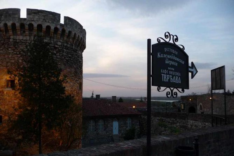 Kalemegdan Fortress and sign towards restaurant