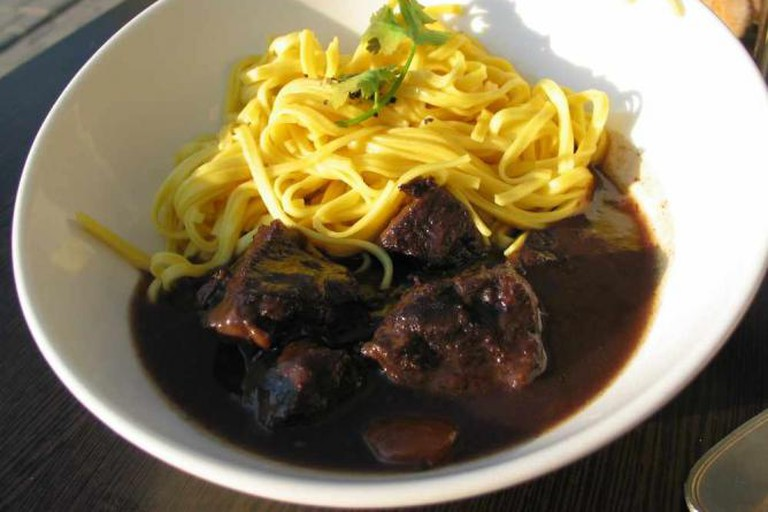A traditional beef bourguignon