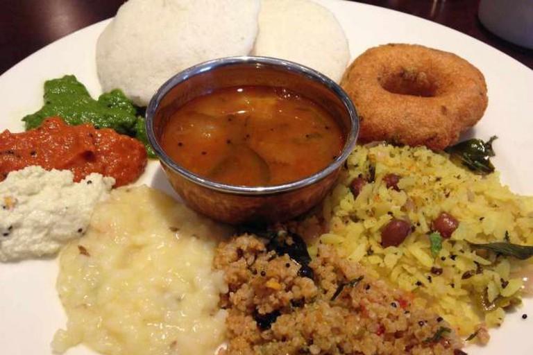 South Indian Breakfast - Idli, Umpa, Vada, Sambar