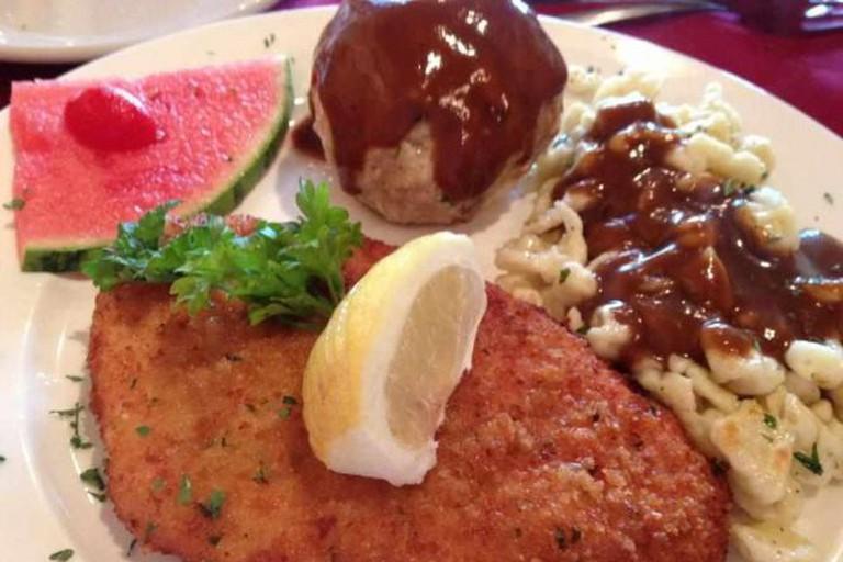 Schnitzel with spaetzle and dumpling