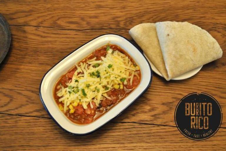 Tortilla with chili con carne