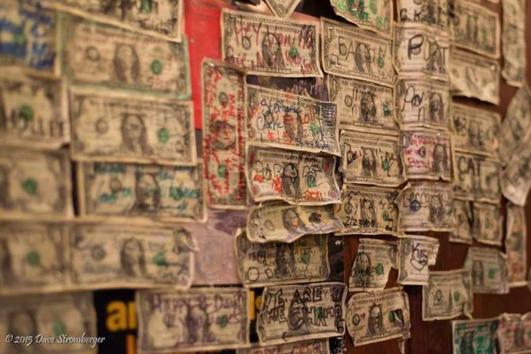 O'Doherty's wall of dollar bills