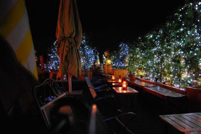 A rooftop bar