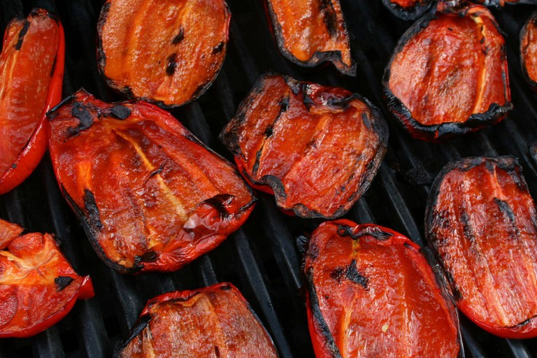 Barbecued Red Bell Peppers