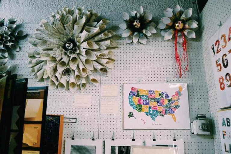 Paper wreaths decorate McManus & Morgan