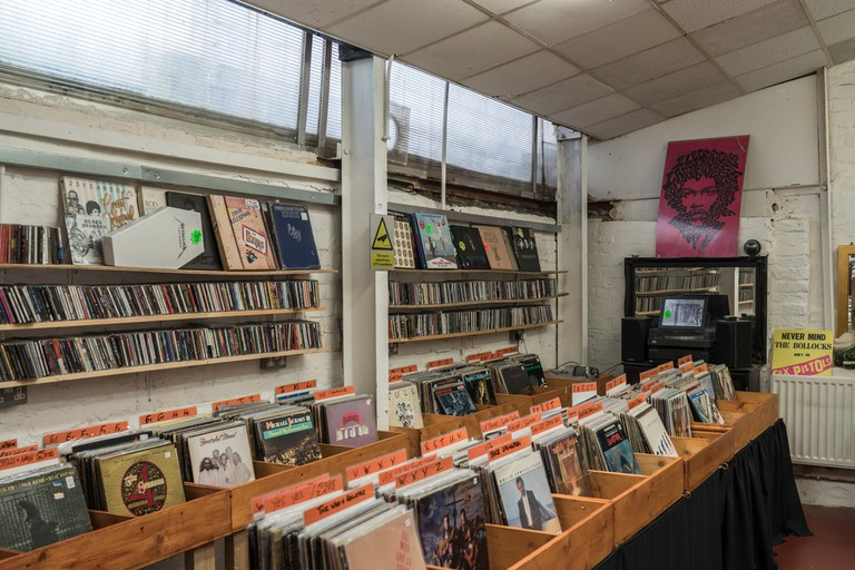 Various 60's.70's,80's vintage vinyl for sale in a second hand record store
