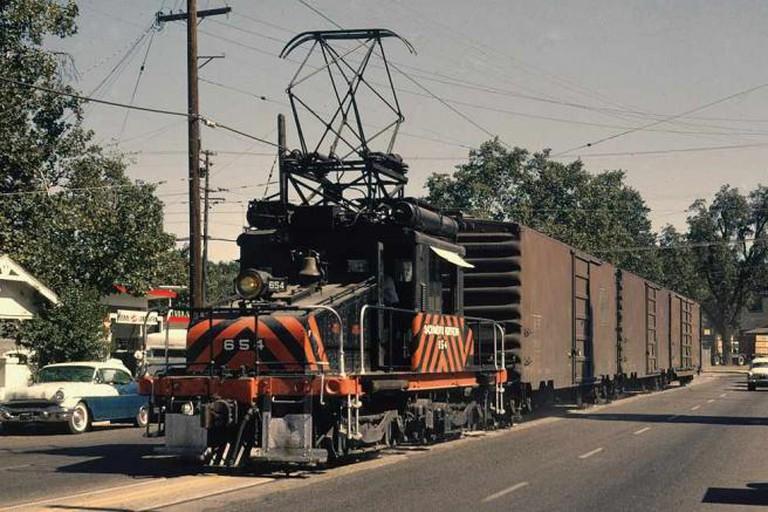 Sacramento Northern #654 on Plumas St, Yuba City, CA, August 1964