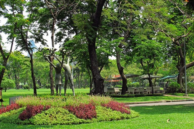 Lush greenery in Lumpini Park, Silom, Bangkok