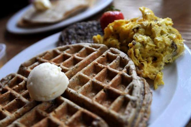 Buckwheat waffle and turkey sausage scramble at Frothy Monkey