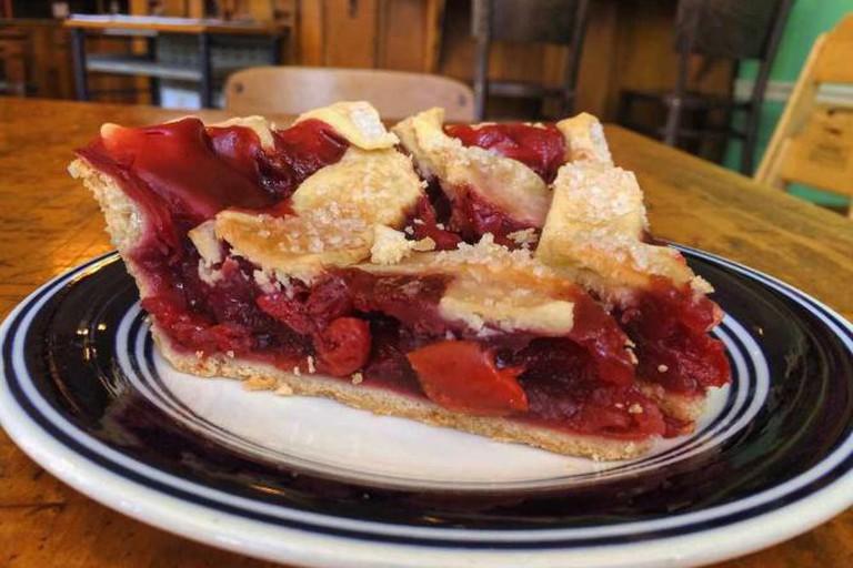 Piece of Michigan sour cherry pie