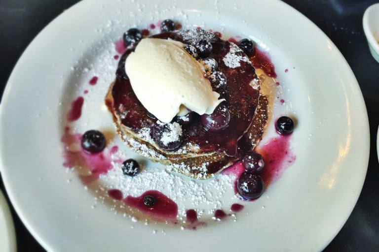 Lemon Buckwheat Ricotta Blueberry Pancakes