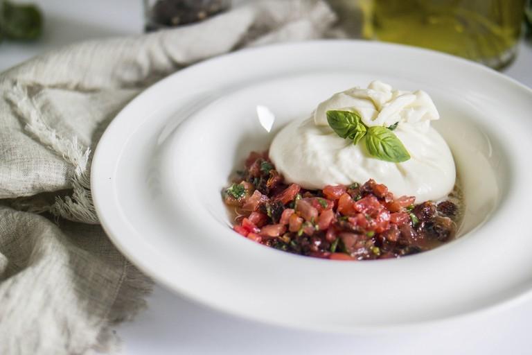 Burrata mozzarella with tomato tartare