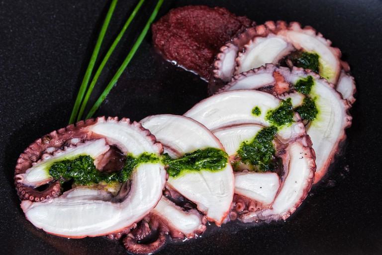 Italian octopus carpaccio with olive pesto