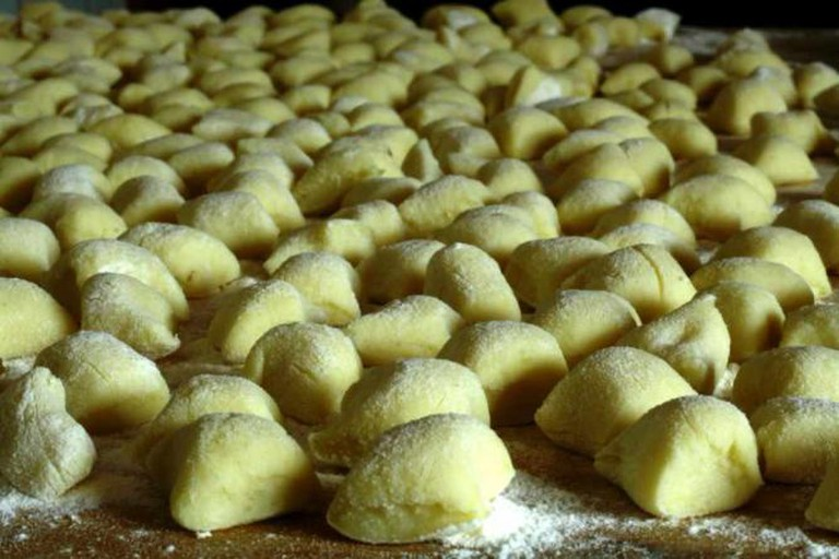 Field of uncooked gnocchi