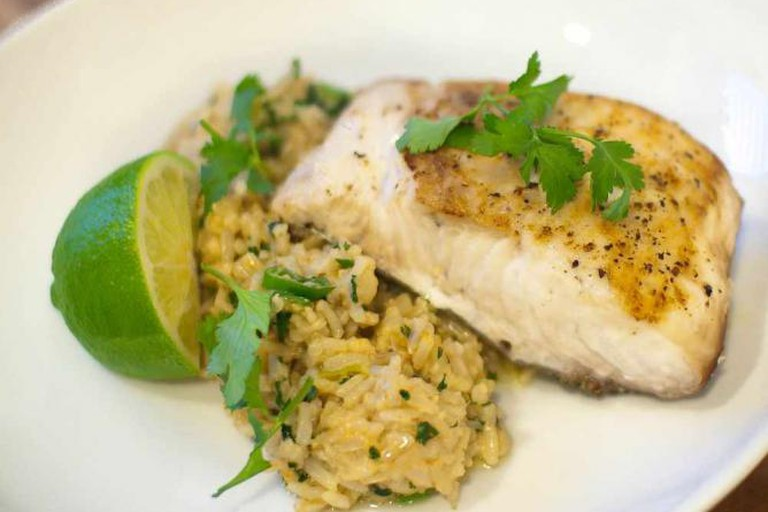 Coconut Ginger Fried Rice with Seared Mahi Mahi