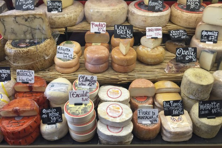 Cheese on a market stall