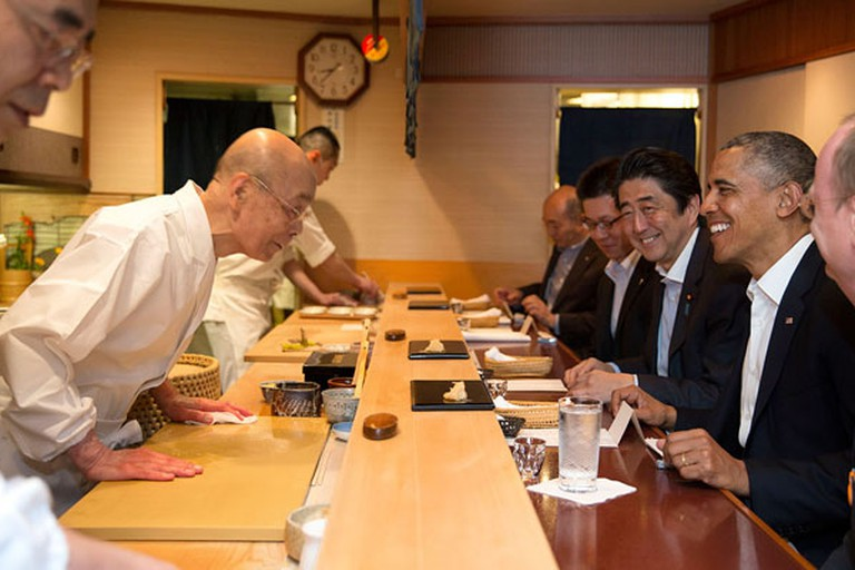 Barack Obama and Shinzo Abe at Sukyabashi Jiro April 2014
