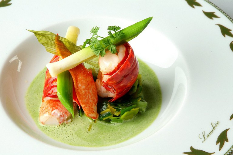French cuisine: this dish consists of marinated crayfish on gazpacho asparagus and watercress