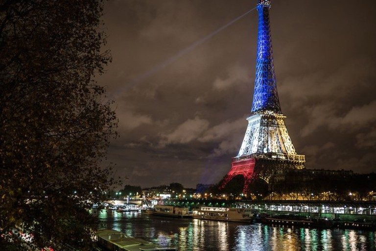 Eiffel Tower from Bir-Hakeim, in blue, white and red