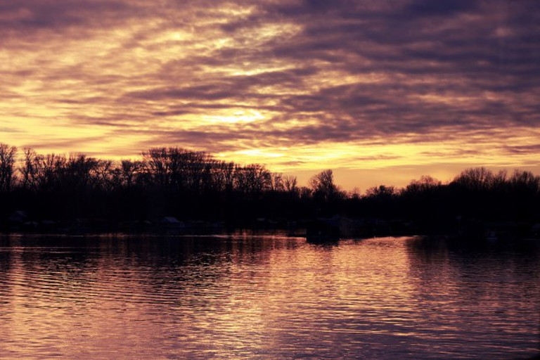 Sunset over Sava River